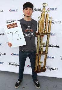 HOMESTEAD, FL - NOVEMBER 22: Matt Stonie onstage at Smithfield and Major League Eating's Matt Stonie Set Fresh Pork Rib Eating World Record with 71 Ribs at Homestead-Miami Speedway on November 22, 2015 in Homestead, Florida. (Photo by John Parra/Getty Images for Smithfield)  - select image to download full-size version